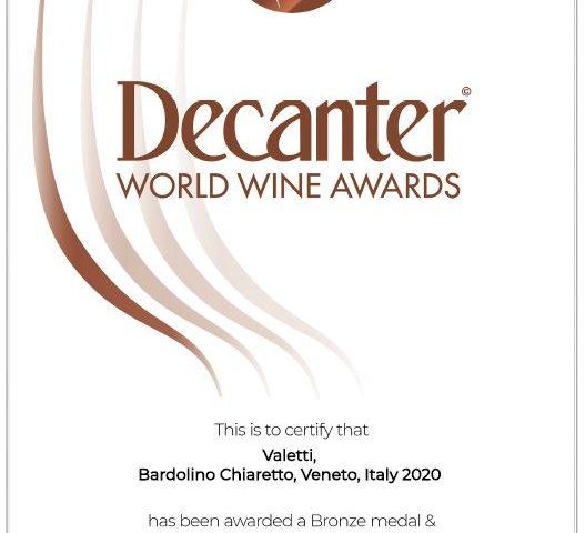 Diploma di medaglia Decanter Wine Awards 2021